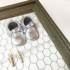 Metallic Silver Moccasins. Mirror Mirror Moccs  Angel Baby Moccasins