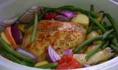 Whole chicken with veggies in crockpot. Seasoned with paprika & freshly ground black pepper. Just fill with water about an inch into crockpot. The chicken alone will release alot of its own natural juices. An hour into cooking chicken, add vegetables (potatoes & carrots I add the same time as chicken) this recipe call for quartered new potatoes, quartered purple onion, green bean, tomatoes, zucchini. I add whatever I have in my fridge.