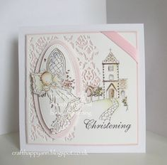 a simple matt and layered card using lili of the valley's baby christening and church on the hill and a few of my dies. Baby Girl Christening, Christening Card, Baby Barn, Christening Invitations, Card Making Inspiration, Baby Shower Favors, Kids Cards, Cardmaking, Card Ideas