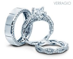 Verragio Bridal Trio with engagement ring and wedding rings from the Venetian Collection.