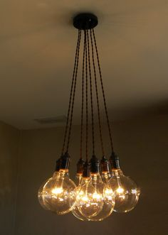 7 Cluster Pendant Chandelier Modern Lighting Hanging Cloth Cords Industrial Pendant Lamp Ceiling Fixture Custom Colors and Light Bulbs by HangoutLighting on Etsy https://www.etsy.com/listing/206823365/7-cluster-pendant-chandelier-modern