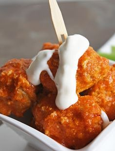"""Buffalo Balls"" Make with ground turkey — a MUCH healthier way to quench wing cravings… Easy to double the recipe – so easy to prepare and you bake the sauce on the meatballs! A real crowd pleaser!"