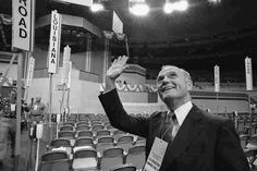 Sen. John Glenn, D-Ohio, one of the keynote speakers at the July 12, 1976, opening of the Democratic National Convention, responds to greetings on the floor of Madison Square Garden in New York.