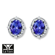 LeVian Tanzanite Earrings 1/5 ct tw Diamonds 14K Vanilla Gold. These would go with my LeVian Tanzanite ring.