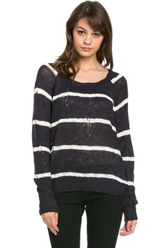 Round Neck Striped Sweaters Navy