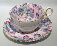 Rare-SHELLEY-SUMMER-GLORY-Chintz-Cup-Saucer-CHESTER-SHAPE-MINT