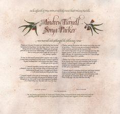 Quaker wedding certificates, Australian calligrapher