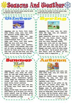 A collection of English ESL Seasons worksheets for home learning, online practice, distance learning and English classes to teach about Spanish Lessons For Kids, English Worksheets For Kids, English Activities, English Lessons, Learn English, English Teaching Materials, Teaching English Grammar, English Language Learners, English Vocabulary