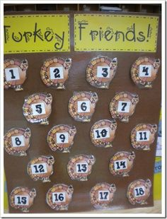 Tons of great Thanksgiving center ideas.  matching/memory- write the word  Lift a turkey to find friend's picture and write name on numbered line.