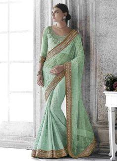 Pista Green Embroidery Mirror Work Georgette Net Half Wedding Sarees #Sarees #DesignerSarees  http://www.angelnx.com/Sarees