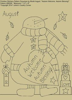 "Primitive Stitchery E-Pattern Snowman by Month August, ""Autumn Welcome, Autumn Blessing!"""
