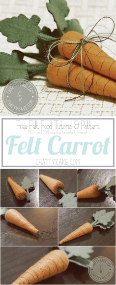 Love Make Believe: Felt Carrot Pattern - Neues Spielzeug Felt Fruit, Felt Play Food, Pretend Food, Felt Patterns, Felt Fabric, Felt Diy, Felt Hearts, Easter Crafts, Wool Felt