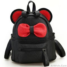 ca744ee58895 Cute Mini Bow Kitty Ears Small Cartoon School PU Backpacks Lace Backpack