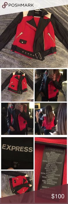 Color Block Biker Red white and black with silver hardware. Worn twice. Needs a new home with someone who will rock it! Express Jackets & Coats