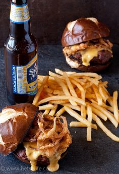 Beer Cheese Burgers with Crispy Onions. This was awesome! I could have eaten 10, but limited myself to just 2! YUM!