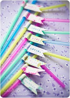 Party straws. Perfect for birthday parties. The guests will be impressed and it's easy to keep track of the glasses.