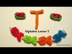 Alphabet Letter T Charm on Rainbow Loom