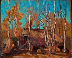 Tom Thomson, Shack in the North Country, fall 1914 - Art Gallery of Ontario Art Gallery Uk, Art Gallery Of Ontario, Emily Carr, Canadian Painters, Canadian Artists, Nature Paintings, Landscape Paintings, Landscapes, Group Of Seven Paintings
