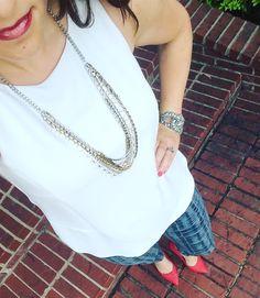 Cabi jubilee tank & grid skinny jeans