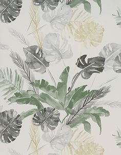 Wallpaper Design 'Jungle' reference 4800025 (10 metres x 53cms) A stunning large scale leaf and fern design on wallpaper, in a subtle gold, silver, black and green colour combination. This wallpaper is washable, with good light resistance and strippable. #Paper Moon #Coordonne #Wallpaper #Lara Costafreda #Floral
