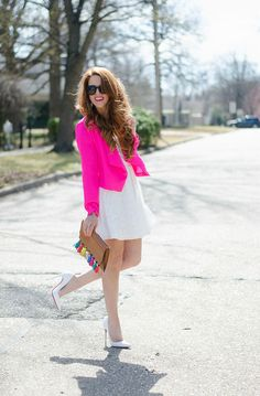 pink-blazer - white dress - tassel clutch