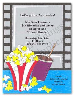 Free Printable Movie Themed Invitations | Kids Birthday Invitations Girls Boys Boys & Girls Sweet 16 Invitations ...