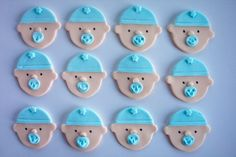 Baby boy cookie or cupcake toppers