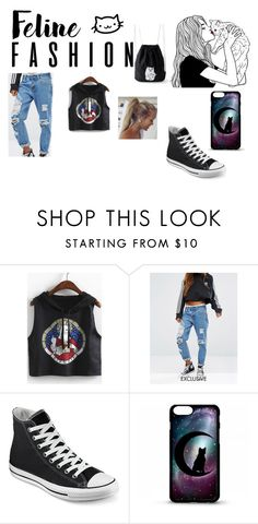 """""""ya gotta luv cats"""" by maryjsullivan ❤ liked on Polyvore featuring WithChic, Liquor n Poker and Converse"""