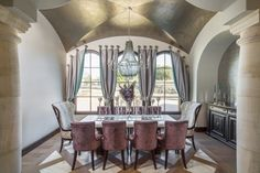 Clean European | Vanguard Studio | Architect Austin, Texas Style At Home, Dark Wood Dining Table, Mediterranean Style Homes, Dining Chair Cushions, Dining Room Design, Decoration, Interior Design, House Styles, Texas Mansions