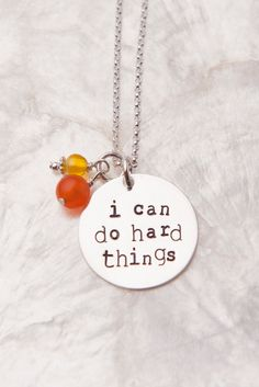 I Can Do Hard Things Necklace, Handstamped Sterling Silver Jewelry, Inspirational Quotes Necklace, Affirmation Necklace, Mantra Necklace