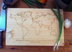 World Map Personalized Cutting Board / Bamboo Chopping Block, Custom Engraved Wedding Gift, Anniversary, or Engagement Present