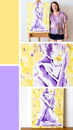 'Yogi Twist' is a yellow and purple watercolour figure painting on a watercolour canvas. This yoga art depicts a yogi in a seated twist Watercolor Canvas, Watercolour Paintings, Online Yoga, Yoga Art, Yoga Retreat, Figure Painting, How To Do Yoga, Dancers, Figurative