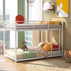 Merax Bunk Bed Twin Over Twin, Low Bunk Bed with Ladder,Sturdy Metal Frame Twin Over Twin Bunk Bed with Safety Rails, Modern Bunk Beds for Bedroom, Dorm,Boys, Girls, Adults,White Low Bunk Beds, Double Bunk Beds, Bunk Beds With Storage, Metal Bunk Beds, Kids Bunk Beds, Bed Storage, Cool Toddler Beds, Steel Bed Frame, Bunk Bed Designs