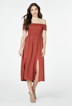 Off The Shoulder Midi Dress in CINNAMON - Get great deals at JustFab