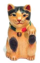 handcarved wooden maneki neko                                     lucky cat