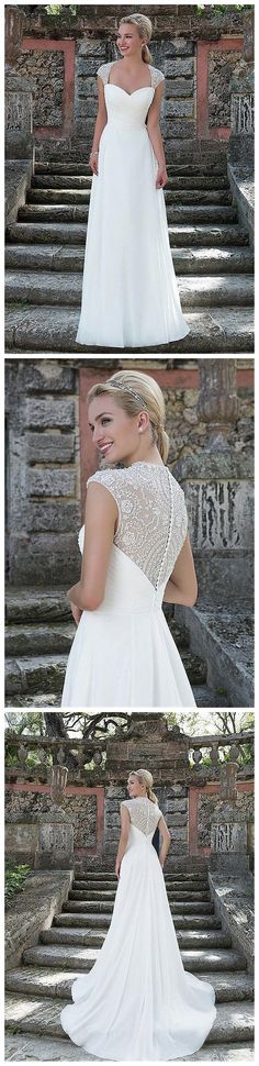 Love! Brilliant Tulle & Chiffon Queen Anne Neckline A-line Wedding Dresses with Beaded Embroidery