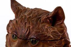 """Керамический сосуд для табака в виде кошки Подписано """"FGW"""" Высота 7 1/2 дюйма: Лот 1089 Оценка100 $ - 200 $ Живой Аукцион  - 3 января 2015"""