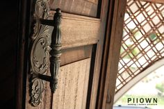 An antique detailed brass door handle in a traditional Kedah Malay house. #malaysia