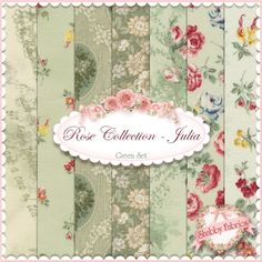 "Rose Collection Julia  7 FQ Set - Green By Quilt Gate: Rose Collection Julia is a collection by Quilt Gate.  100% cotton. This set contains 7 fat quarters, each measuring approximately 18"" x 21""."