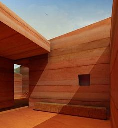 Rammed earth design won first prize in a 2010 international architecture competition to design a single family dwelling that would be radically cheap to build in Luanda, the capital of Angola. By Pedro Sousa + Tiago Ferreira + Tiago Coelho + Bárbara Silva Sustainable Architecture, Residential Architecture, Contemporary Architecture, Architecture Details, Pavilion Architecture, Rammed Earth Homes, Rammed Earth Wall, Earth Design, Natural Building