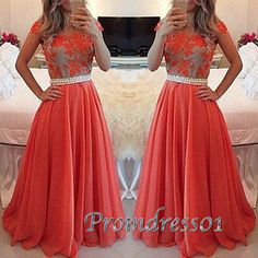 Prom dresses for teens, hot pink senior prom dress with sleeves, 2016 handmade lace chiffon long evneing dress with belt www.promdress01.c... #coniefox #2016prom