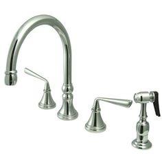 Copenhagen Double Handle Widespread Kitchen Faucet with Brass Sprayer