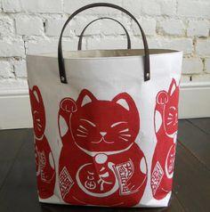 maneki neko good luck cat bag