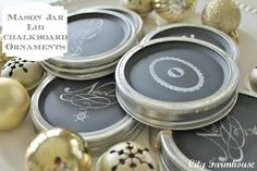 recycle lids with chalk board paint