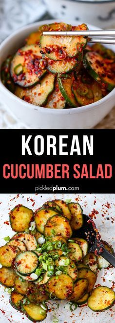 This spicy and smoky Korean Cucumber Salad Recipe is ready in 10 minutes and has a refreshing crunch Serve as a side banchan at your next Korean BBQ feast or backyard cookout koreanfood side cucumberrecipe salad spicyrecipe Cucumber Recipes, Healthy Salad Recipes, Spicy Recipes, Vegetarian Recipes, Cooking Recipes, Healthy Food, Healthy Korean Recipes, Vegan Korean Food, Cucumber Appetizers