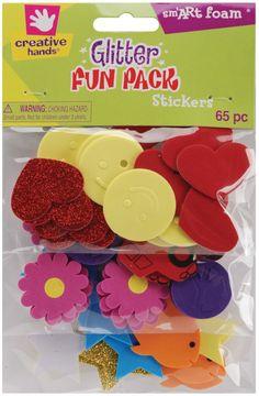 Creative Hands by Fibre-Craft 65-Pack Foam Glitter Stickers, Peace/Smiles