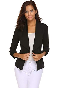 8d45b8cb5349 Qearal Womens Solid 3/4 Ruched Sleeve Open Front Draped Lapel Work Office Blazer  Jacket