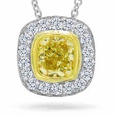 Gemma 0.66ct 14k Two-tone Gold Cushion Cut Natural Fancy Yellow Diamond Pendant