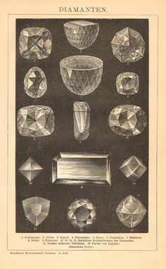1902 The Most Famous Diamonds with their Fabulous Cuttings Original Antique Print.