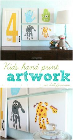 Easy kids hand print artwork, great idea to preserve their cute hand prints for years to come!  via lollyjane.com